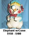 brush elephant with cone