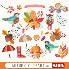 """Fall clipart: """"AUTUMN CLIPART"""" with autumn clip art, autumn leaves, leaf clipart, acorn clipart, owl clipart, 19 images, 300 dpi. PNG files by MashaStudio on Etsy https://www.etsy.com/uk/listing/451354056/fall-clipart-autumn-clipart-with-autumn"""