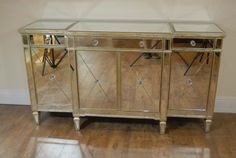 Looking for a wonderful Mirrored Art Deco sideboard! Mirrored Sideboard, Mirrored Furniture, Art Deco Furniture, Living Furniture, Rustic Furniture, Credenza, Mirrored Bedroom, Art Deco Mirror, Interiors Magazine