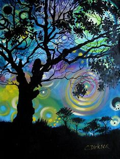"""""""Tree with a View"""" by Cherie Roe Dirksen id like to try painting something in silloette with a colored background"""