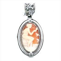 Gem Kingdom sterling silver pendant with hand-carved cameo.