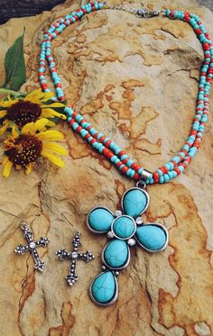 COWGIRL Bling Faux red coral turquoise CROSS  Southwestern NECKLACE  SET #ISAC
