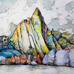 @craigmuderlak: While not the highest in elevation I've always felt that the North Cascades are the most rugged mountains in the country with the richest colors and some of the best alpine granite. Here one of his pen/ink/watercolor pieces titled Prusik Script. | OutsideOnline.com by outsidemagazine