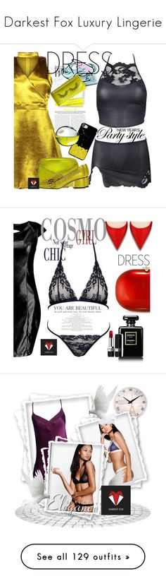 """""""Darkest Fox Luxury Lingerie"""" by darkestfox ❤ liked on Polyvore featuring Unicorn Lashes, A.L.C., Gucci, Chrome Hearts, DKNY, Boohoo, Jeffrey Levinson, Chanel, Christian Dior and chokerdress"""