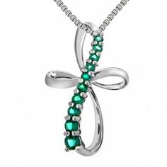 Zales Marquise Lab-Created Emerald and Diamond Accent X Vintage-Style Cross Pendant in Sterling Silver 86LrMMHpz