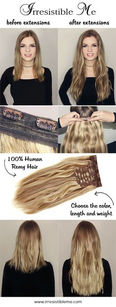 Feel beautiful at an affordable price with Irresistible Me 100% human Remy clip-in hair extensions. Choose your color, length and weight from various options. Can be cut, colored, curled and styled so you get  as many before and after transformations as you want. Big Spring Sale on site between March 18 - March 31 2016.