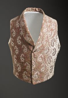 1850, England - Man's Vest - Silk cut and voided velvet on twill foundation with supplementary weft-float patterning