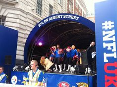 The #NFL All Stars cheerleaders will be on the main stage in 10 minutes. Here they are rehearsing earlier today #NFL #RegentStreet Block Party