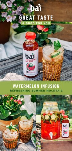 Watermelon Mocktail Recipe Make a pitcher of this refreshing Watermelon Infusion Mocktail recipe mixed with Bai Kula Watermelon, which has only 1 gram of sugar and no artificial sweeteners. Alcoholic Drinks Vodka, Cocktail Drinks, Cocktail Recipes, Cocktails, Drink Recipes, Refreshing Drinks, Fun Drinks, Yummy Drinks, Beverages