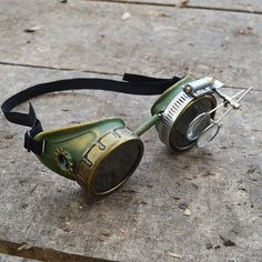 Green and Gold Steampunk Goggles with Gear and Magnifying Loupes