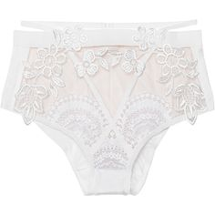 FOR LOVE AND LEMONS Lucia Hi Waist White // Lace panty (765 BRL) ❤ liked on Polyvore featuring intimates