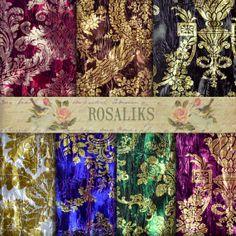 Royal Velvet Floral Digital Paper Pack Royal Digital by rosaliks, $5.00