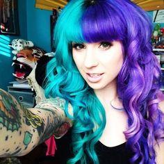 I really want to go wild like this  half aqua, half purple hair!