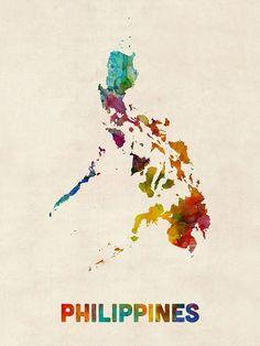 Trademark Global Michael Tompsett 'Philippines Watercolor Map' Canvas Art - 24 x 32 Filipino Art, Filipino Culture, Filipino Tattoos, Les Philippines, Philippines Culture, Philippines Travel, Philippines Fashion, Map Canvas, Canvas Wall Art