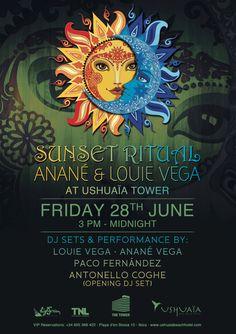 Enjoy Sunset Ritual at  #ushuaiaibiza The TOWER with @nuyoricansoul Louie Vega, @ananesworld Anane Vega & Guest! #FF
