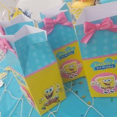 Customized candy boxes for Spongebob party! Really love what I got on @Etsy from ArtPaperParty. #etsystar http://etsy.me/1QHgZyN