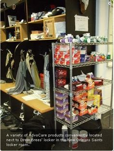 Drew's got his Advocare set up next to his locker!!