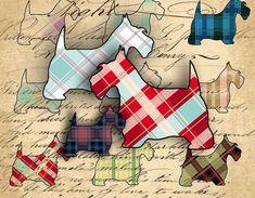 Instant Download Digital Collage Sheet - Scottish Terrier Plaid Images - DigitalPerfection digital collage sheet 1019