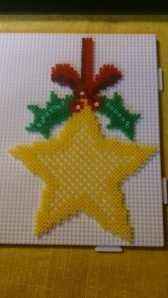 Christmas star ornament hama perler beads by Susanne Damgård Sørensen