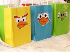 Angry Birds bags, made with The Party Animal's templates and printed on labels for easy application.