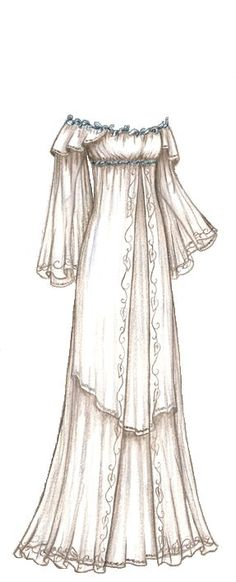 Halloween LOTR Costume Series Galadriel's White Layered Gown. beautiful sketch of a gown. I'm a pretty decent artist, but when it comes to designing clothes, I can't seem to put down on paper, what I see in my head Pretty Dresses, Beautiful Dresses, Moda Medieval, Medieval Gown, Kleidung Design, Vintage Outfits, Vintage Fashion, Estilo Hippie, Fantasy Dress