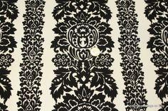 1970's Black Flocked Vintage Wallpaper Damask Stripe