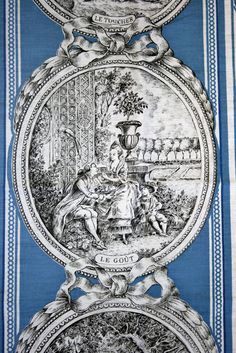 I'm gonna mix black/white toile and other bl/wh patterns with the blue toile - gonna be foxy baby! Stencils, French Fabric, Textiles, Shabby Chic Bedrooms, Fabric Wallpaper, Wallpaper Patterns, French Decor, Art Design, French Vintage