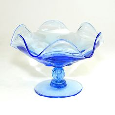 Tiffin Glass Compote in Canterbury Pattern Copen by OneRustyNail, $57.95