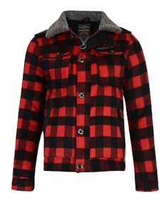 Ringspun Men's Check Lumberjack Sherpa Padded Shirt Jacket Red   Jean Scene