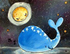 Whale Nursery Art Original Acrylic Painting Cute di andralynn
