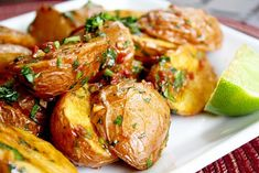 25 Big Game Appetizers: Chipotle and Lime Roasted Potatoes by In Sock Monkey Slippers Gluten Free Recipes Main Dish, Veggie Recipes, Fall Recipes, Vegetarian Recipes, Healthy Recipes, Chipotle, Potato Dishes, Roasted Potatoes, Vegetable Side Dishes