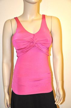 SEXY HOT PINK V-NECK TWISTED BUST TIE BACK FITTED CLEAVAGE TOP PARTY GLAM TOP SM #TOPAZUSA #TankCami #Clubwear