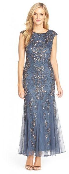 Petite Women's Pisarro Nights Mermaid Gown, Size 12P - Grey