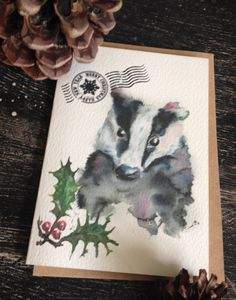 Woodland badger Christmas card - Puddle Paints design - watercolour print