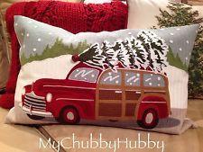 NWT Pottery Barn ~WOODY WAGON~ Christmas PILLOW Cvr ~VINTAGE~ Classic **NLA**