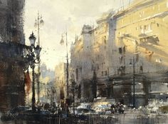 composition tips The Last Sunshine Is Still Warm Today by Chien Chung Wei, watercolor painting Watercolor City, Watercolor Artwork, Watercolor Artists, Watercolor Landscape, Watercolor And Ink, Artist Painting, Landscape Art, Landscape Paintings, Watercolor Architecture