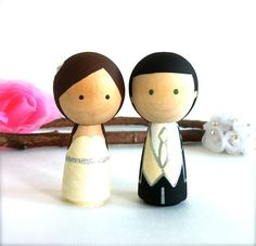 Custom Kokeshi Doll WEDDING CAKE TOPPER by CreativeButterflyXOX, $58.00
