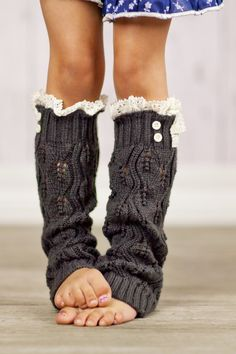 LOVE!!! Knitted Leg Warmers Toddler Girls Lace Trim Socks Open Knit Leg Warmers Crochet Lace Trim and Buttons for Little Girls in Dark Gray