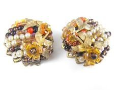Fab Forties Earrings Hand Beaded Cluster Clips by hipcricket, $18.00