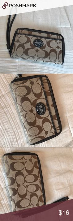 """Coach wallet Small coach wallet. Size 6""""x3 1/2"""". Has zippers & pockets. Coach Bags Clutches & Wristlets"""