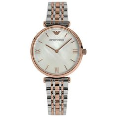 Buy Emporio Armani AR1683 Women's Mother of Pearl T-Bar Two Tone Bracelet Strap Watch, Rose Gold/Silver Online at johnlewis.com