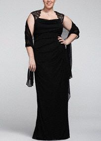 Elegant and ultra sophisticated, you will look like a knock out in this luxurious jersey dress!   Cap sleeve bodice and open back create an eye-catching and on trend look.  Lace detail adds an ultra-feminine touch to this already magnificent ensemble.  Long jersey skirt adds dimension and creates an elongated silhouette.  Comes with matching chiffon shawl.  Fully lined. Back zip. Imported polyester. Dry clean. Available in Missy sizes as Style XS2195. Available in Petite sizes as Style ...