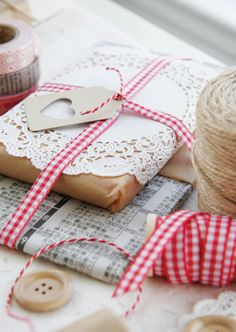 brown paper packages and a doily...timeless.