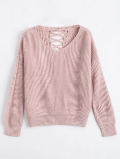 Drop Shoulder Lace Up Chunky Sweater