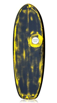 Watershed 'Surf Sled' Surfboard Black/Yellow Resin