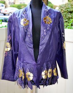 Purple & Gold Leather Jacket by shopnicspicks on Etsy, $32.00