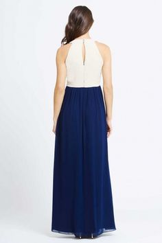 Cream and Navy Embellished Chiffon Maxi Dress
