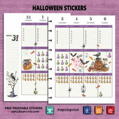 #Halloween #Watercolour Spooky check lists, carved pumpkins, sinister crows and a black cat. Just what your planner needs to get into the Halloween spirit. Specifications: 300 dpi, finished size 8.…