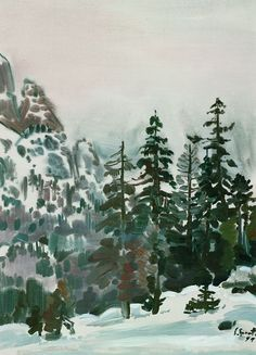 huariqueje: Winter Forest Landscape - Siegward Sprotte , 1951 German 1913-2004 Watercolor and Gouache , 67 x 47,7 cm (26,4 x 18,8 in)