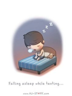 HJ-Story :: Falling asleep while texting... - image 1